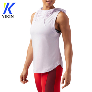 cool girl stylish sleeveless hoodies crossfit gym wear mesh panel patchwork hoodies women