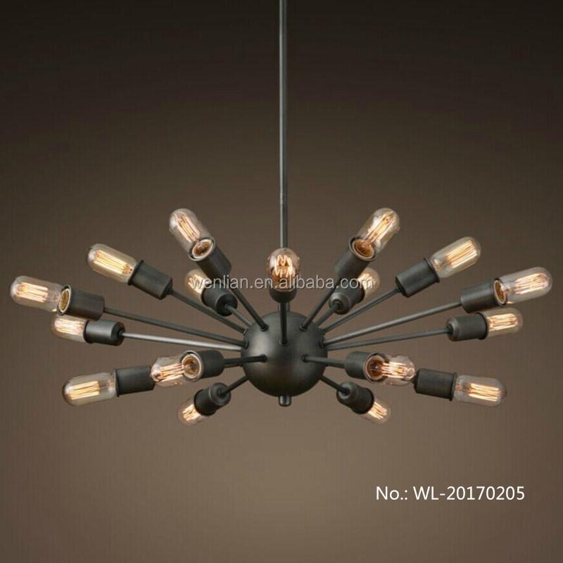 Zwarte spin plafond kroonluchter lamp hanglamp industri le vintage gelakt 18 licht kroonluchters - Licht industriele vintage ...