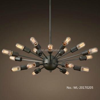 Zwarte Spin Plafond Kroonluchter Lamp Hanglamp Industriële Vintage ...