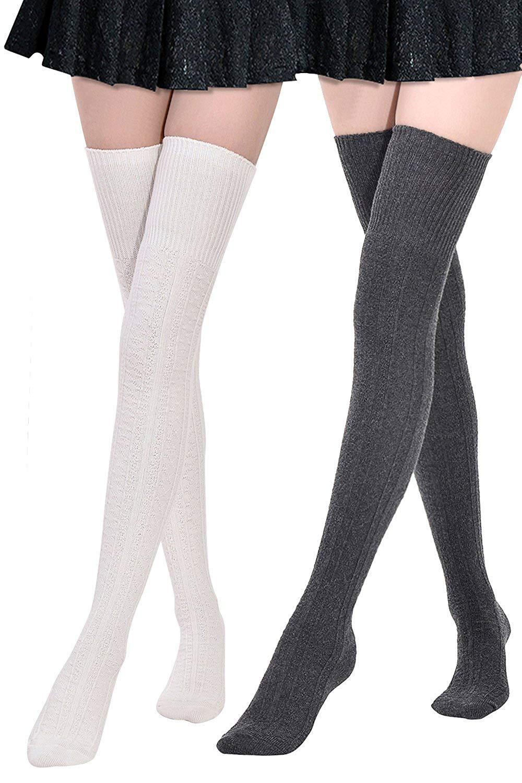 c1cbd772461 Get Quotations · Kayhoma Extra Long Cotton Thigh High Socks Over the Knee  High Boot Socks Cotton Leg Warmers