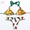 2016 new Reversible bikini Printed swimwear swim suit maillot de bain bikini women Monokini Bikini Set