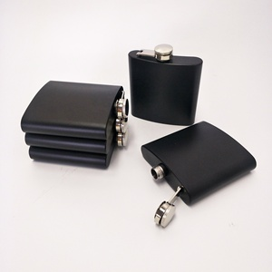 304 stainless steel 6oz hip flask black powder coated whisky hip flask