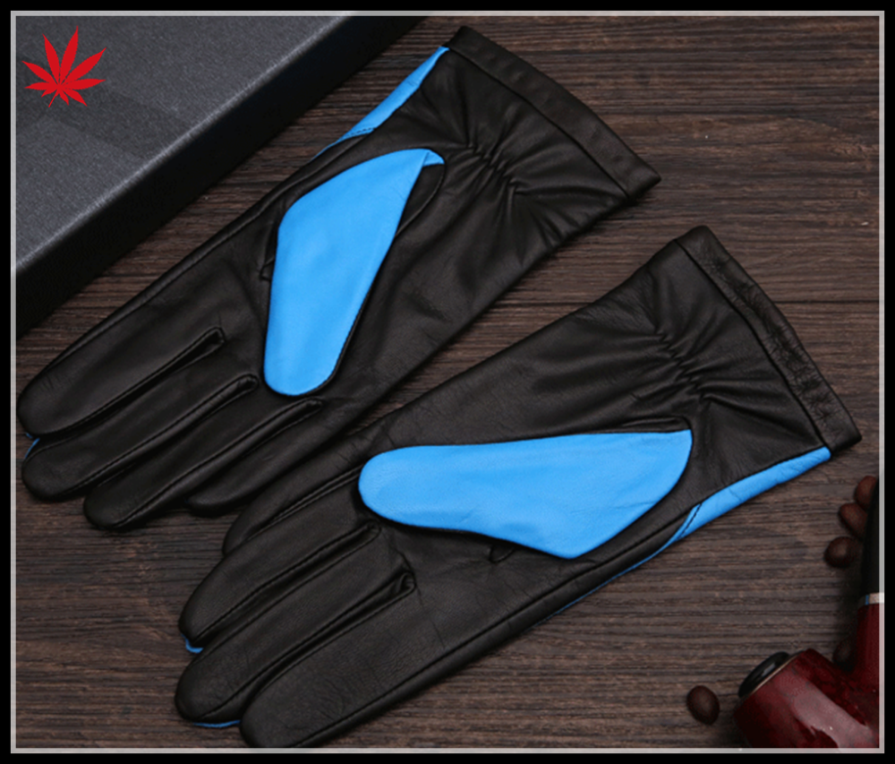 fashion ladies color leather gloves palm black sheepskin leather