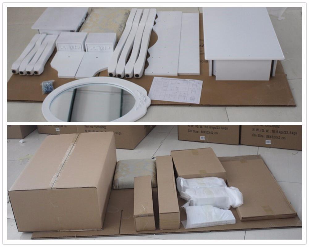 Bianco vanità di trucco spogliatoio tavolo set w sgabello 5 cassetti