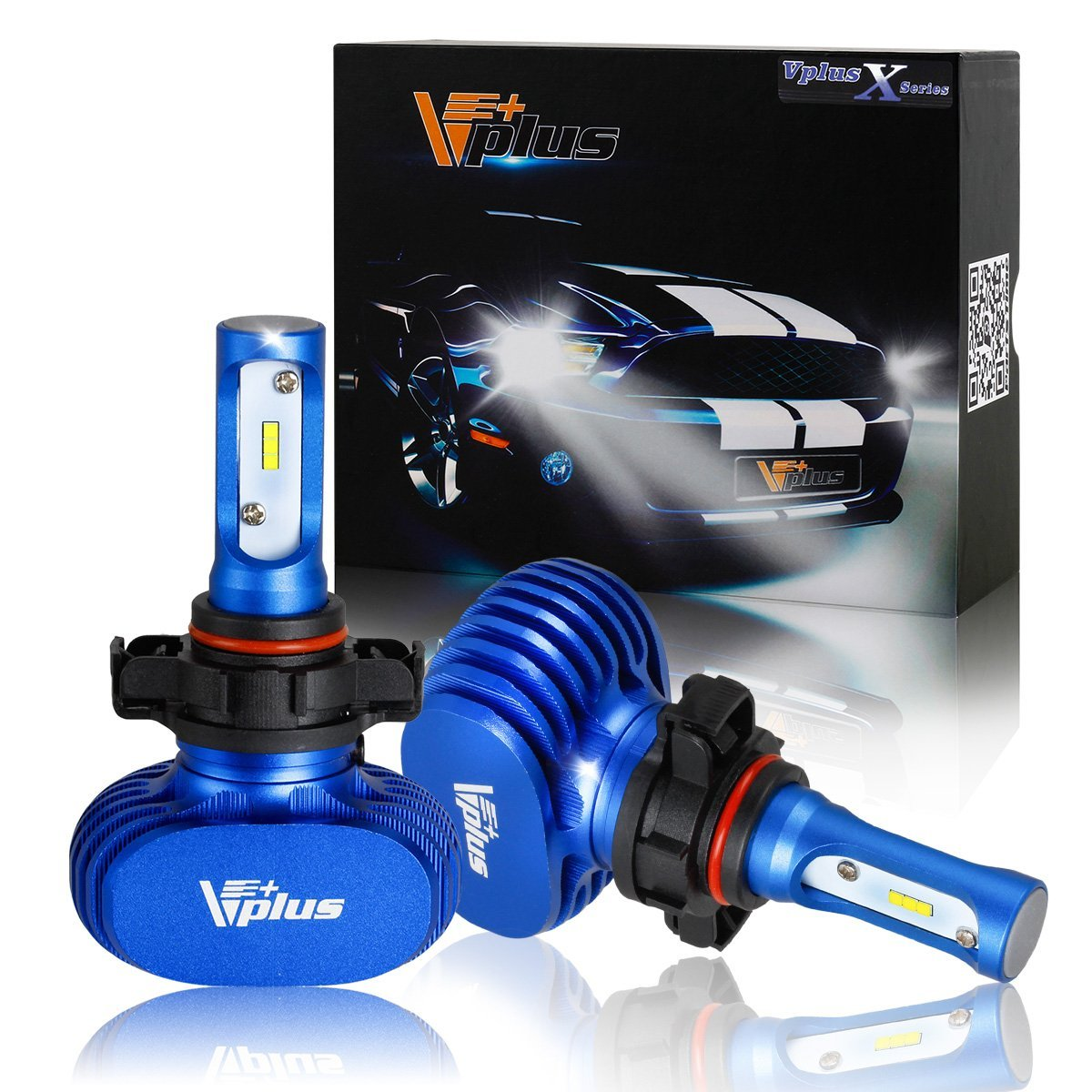 Vplus X Series LED Headlight Bulbs 5202 12086 PS24W H16 72W 8,000LM 6500K White Seoul Chip All in One No ballast Headlamps LED Conversion Replace HID & Halogen -(2pcs/set)
