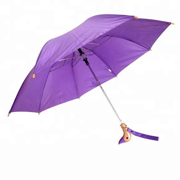"Auto Open Wooden DUCK Handle 18/"" Folding Umbrella 44/"" Arc 10 Colors Available"