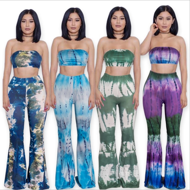 2016 European Summer Womens Two Piece Flare Pants Suits Sexy Off Shoulder Crop Short Tops Ladies