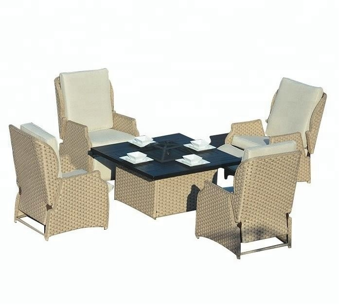 Poly Rattan Garden Furniture Bbq Patio Dining Sets Outdoor Fire Pit Table