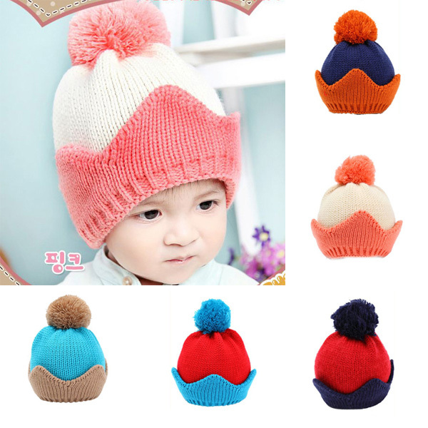 Toddlers Baby Girls Boys Knit Woolen Ball Crown Hats Beanie Caps Winter Hats