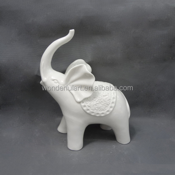Art White Porcelain Elephant Statue For Wholesale