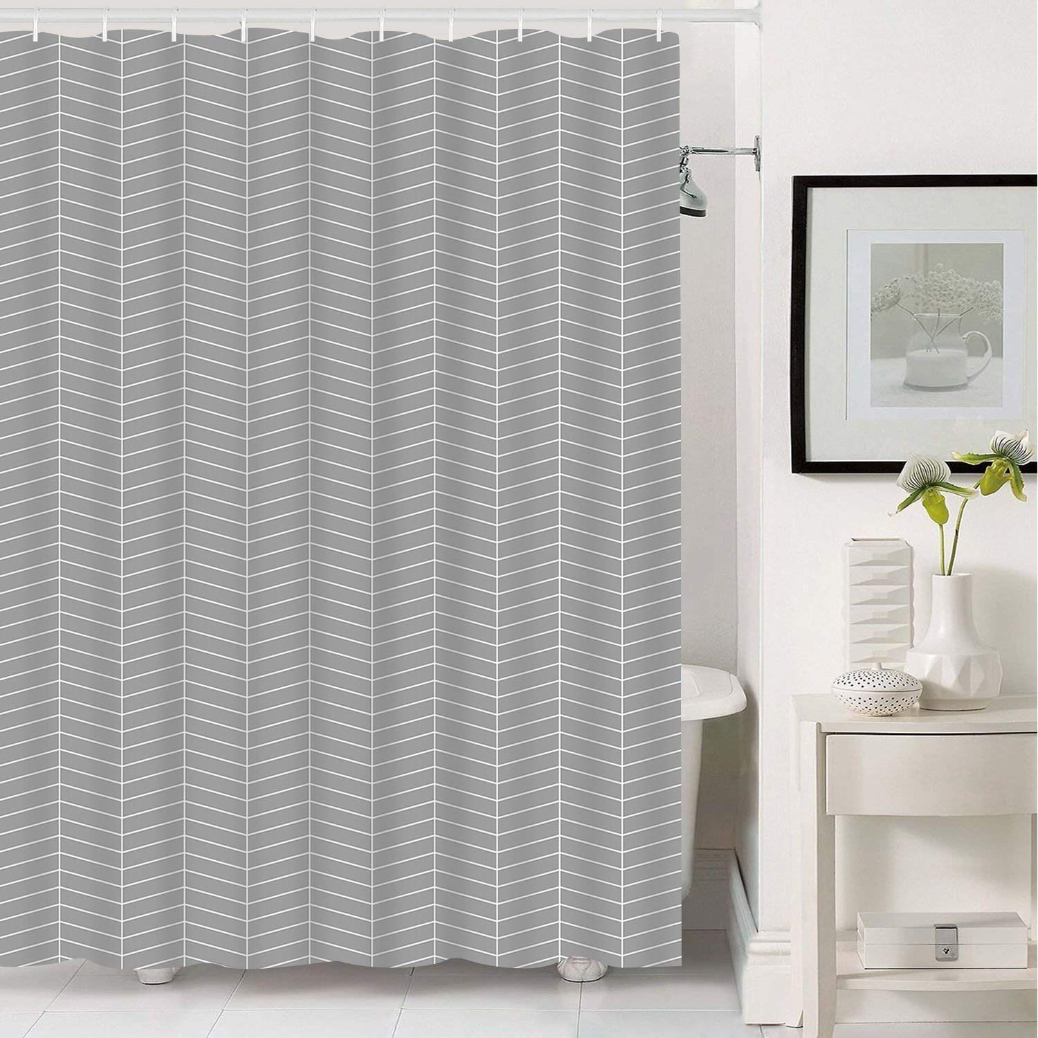 Get Quotations Grey Stripe Bathroom Shower Curtain With 12 Hooks Geometric Fabric Curtains Durable Waterproof Mildew Resistant