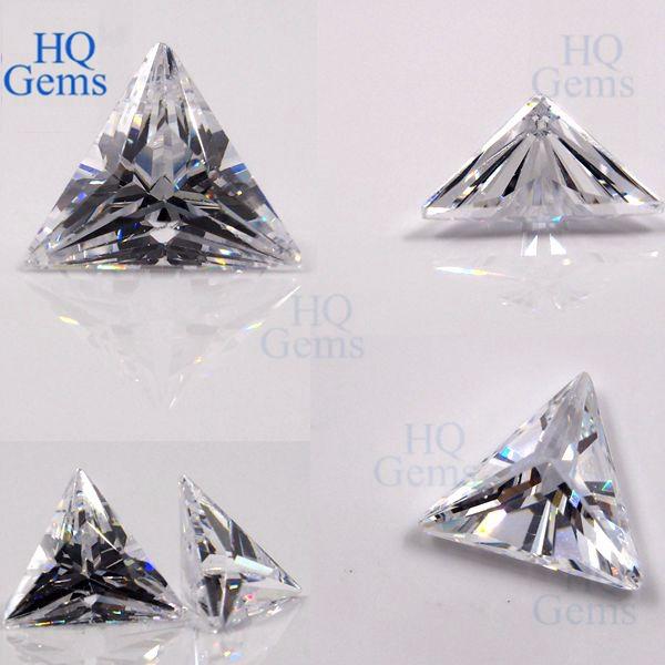 Machine Cut Cz Wuzhou White Cubic Zirconia Triangle Stone
