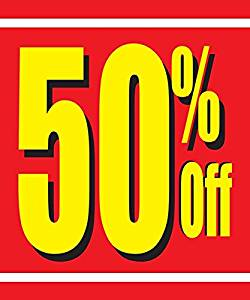 Decal Sticker Multiple Sizes 50/% 40/% 30/% 25/% Sale Promotion Business Business Clearance 50percent Off Entire Store Outdoor Store Sign White Set of 2