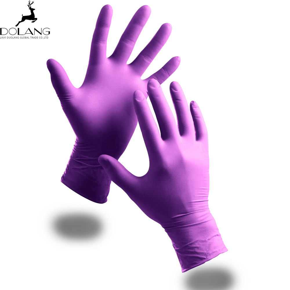 disposable nitrile non-sterile full textured powder free violet <strong>gloves</strong>