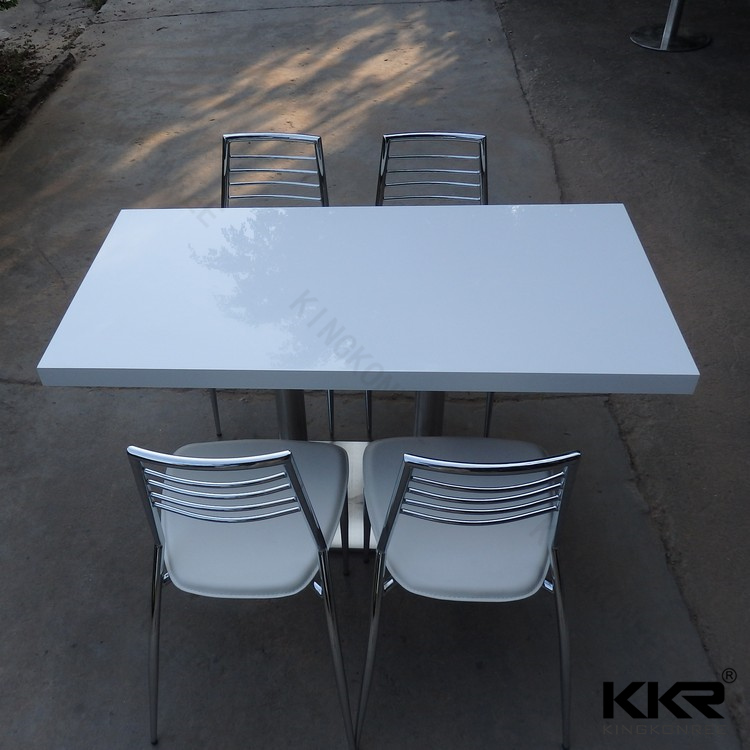 Modern style solid surface dining tabels , new design matt surface white dining tables