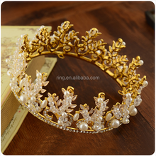 High Quality Retro Bridal Wedding Gold / Silver Plated Custom Large pageant crown Tiara Wholesale