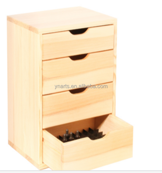 Wooden Desktop Organizer Storage Cabinet With 4 Drawers Wood Many Tall