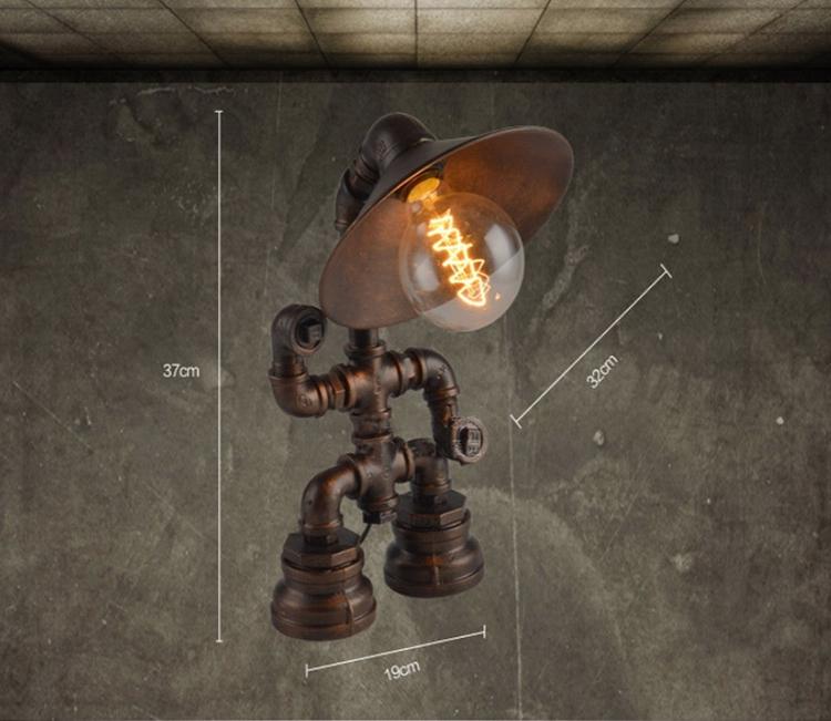 Steampunk Lamp Robot Lamp Water Pipe Lighting Table Lamp