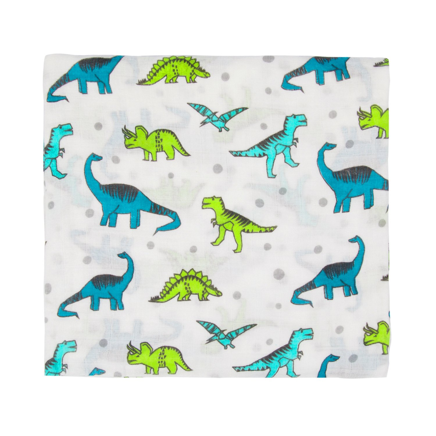 "Muslin Baby Swaddle Blanket, 44""x44"" 100% Cotton Soft Unisex for Boys or Girls Printed Floral Nursing Receiving Swaddle Wrap Burp Cloth Stroller Cover (Dinosaur)"