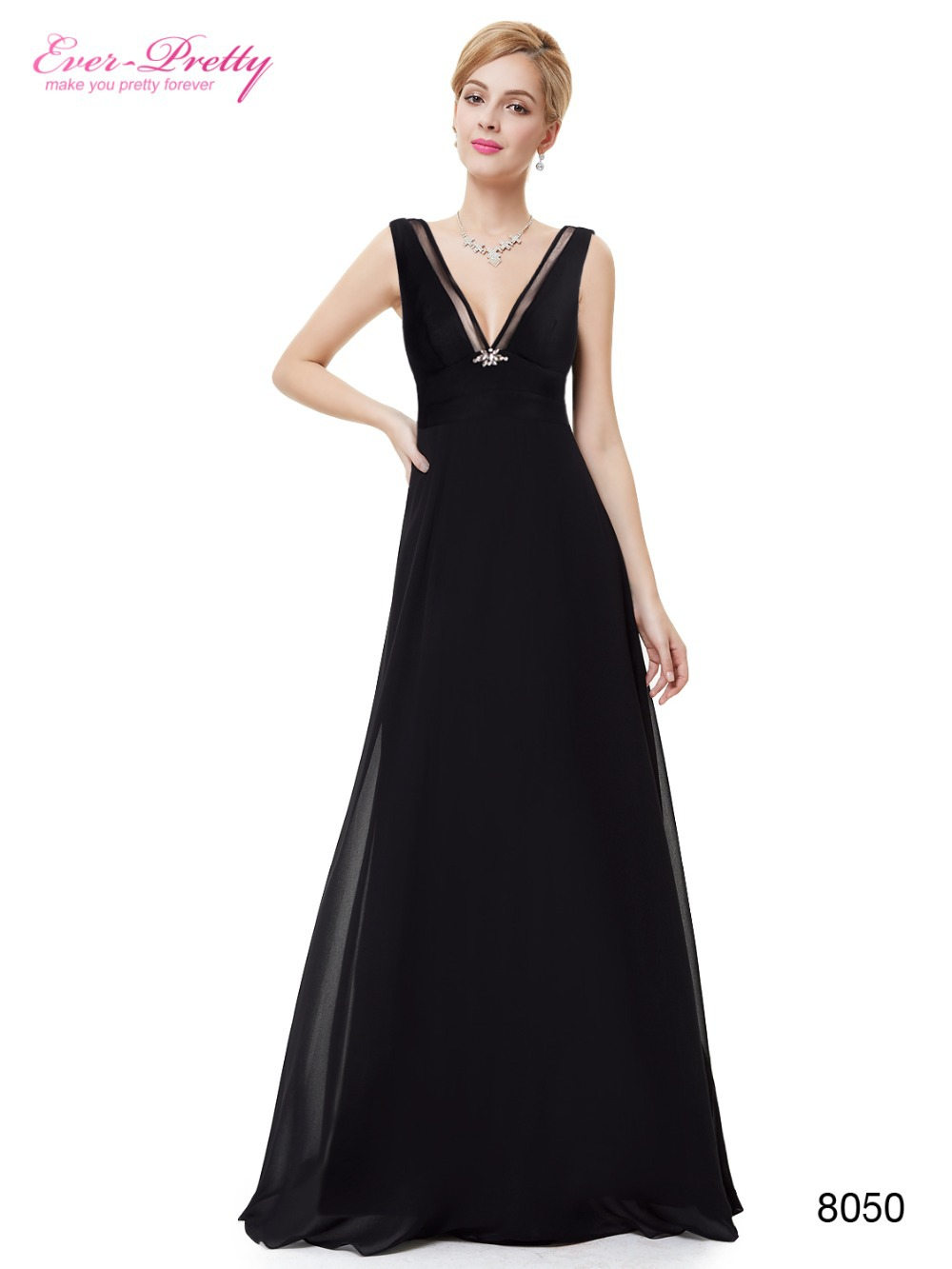 2845740dc7 Get Quotations · Ever Pretty HE08050 Fast Shipping Sexy Black Chiffon Deep  V-neck Maxi Evening Women Dress