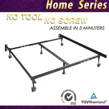 Adjule Heavy Duty Steel Bed Frame With Four Casters Support Glides And Universal Headboard Brackets