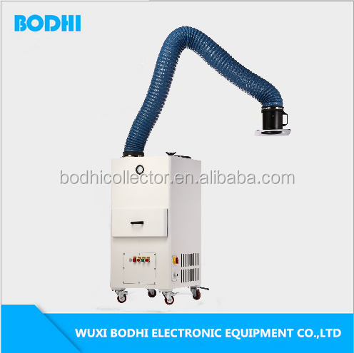High efficiency mobile cartridge pulse welding fume extraction arms