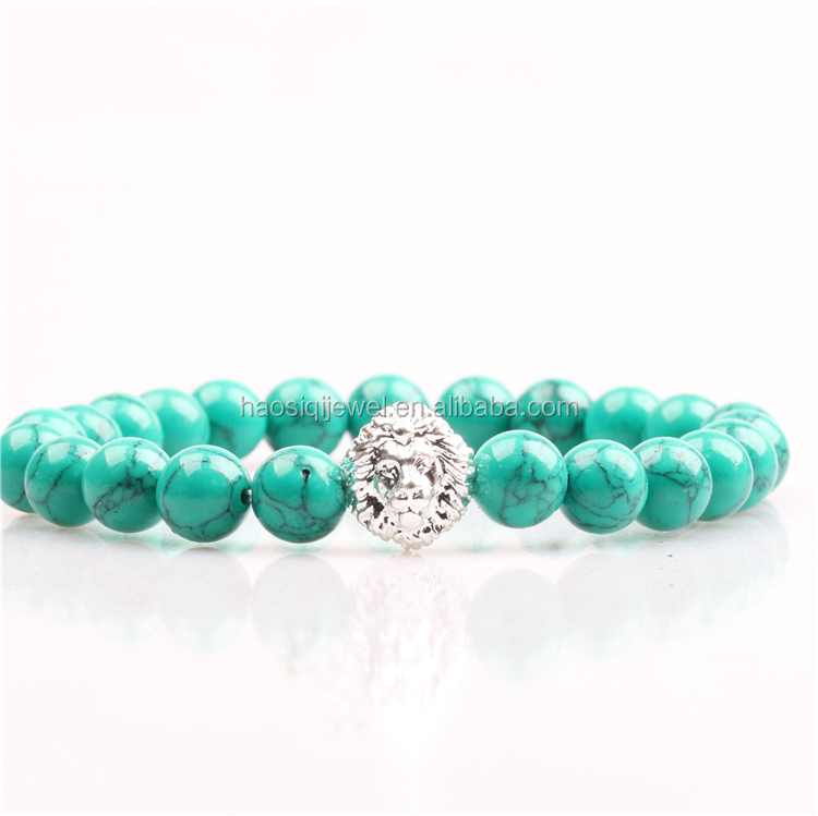 green turquoise stone jewelry lion bracelet elastic stainless steel bracelet for men and women