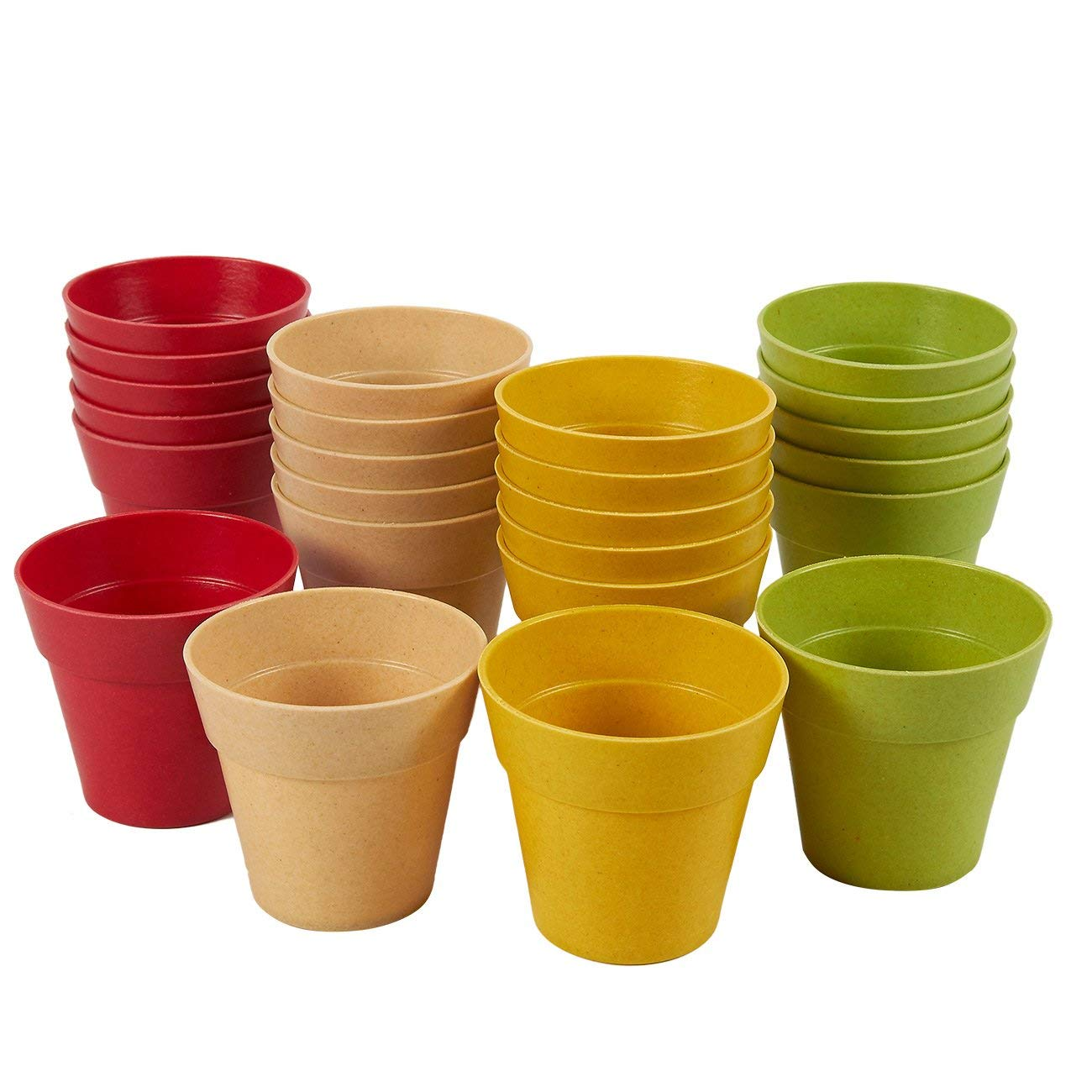Plastic Plant Pot – 24 Pack Mini Flower Pots, Mini Flower Pot Planters for Indoor, Outdoor Plant, Succulent Display, 4 Assorted Colors, 1.5 x 2.3 inches