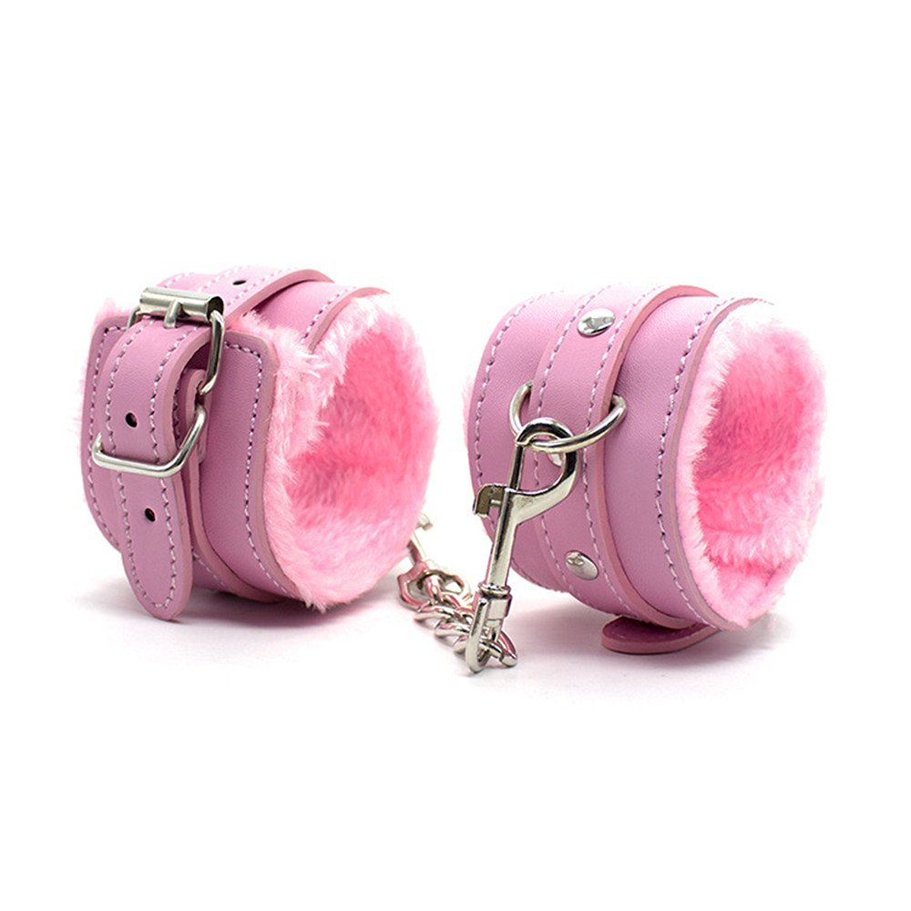 Leather Fuzzy Comfortable Handcuffs Restraints Bondage Flirting Wrist Cuffs for Couples Pink