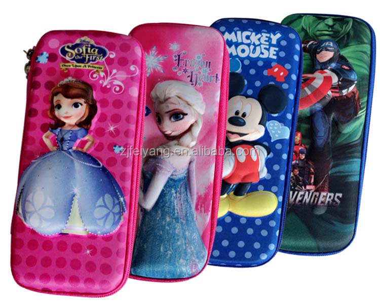 3D embossing school EVA hard pencil case/box/bag