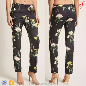 Ladies Clothing Factory 100% Polyester Floral Print Trousers Women's Satin Pants