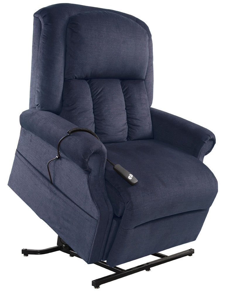 Mega Motion Easy Comfort Superior 3 Position Heavy Duty Big Lift Chair 500 lb capacity Chaise Lounge Recliner - Ocean Blue Fabric