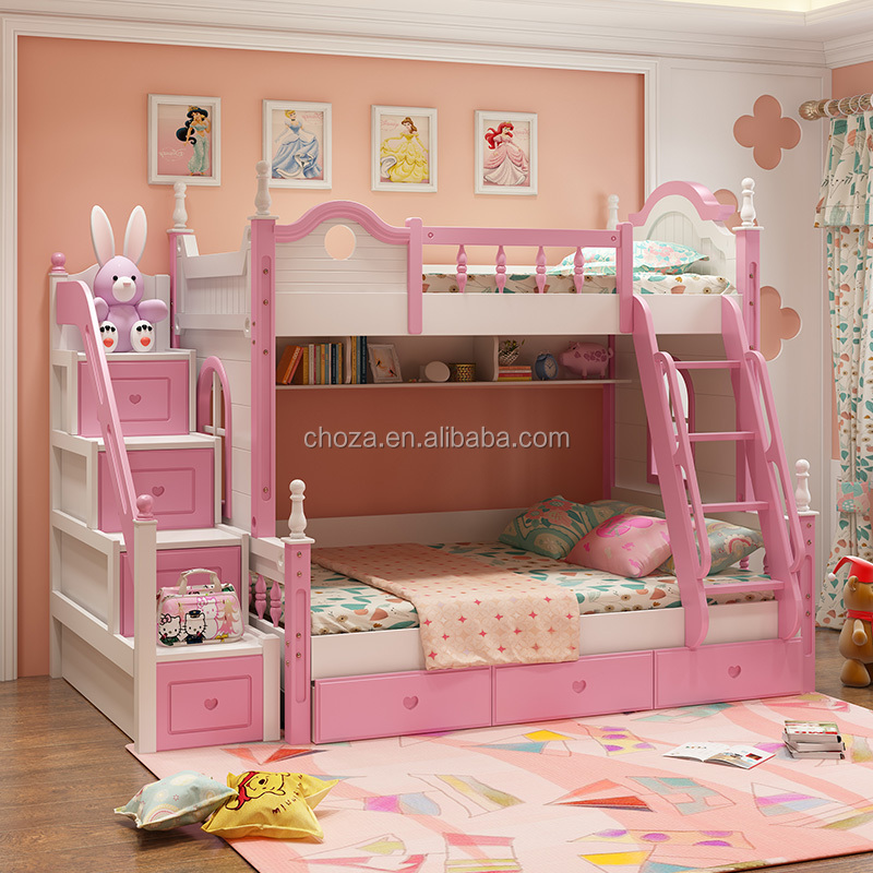F50664A-1bedroom furniture set double deck bed wooden kids bunk bed