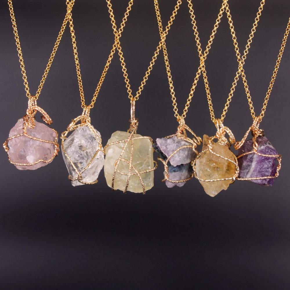 Fashion Jewelry Natural Fluorite Lemon Quartz Necklaces
