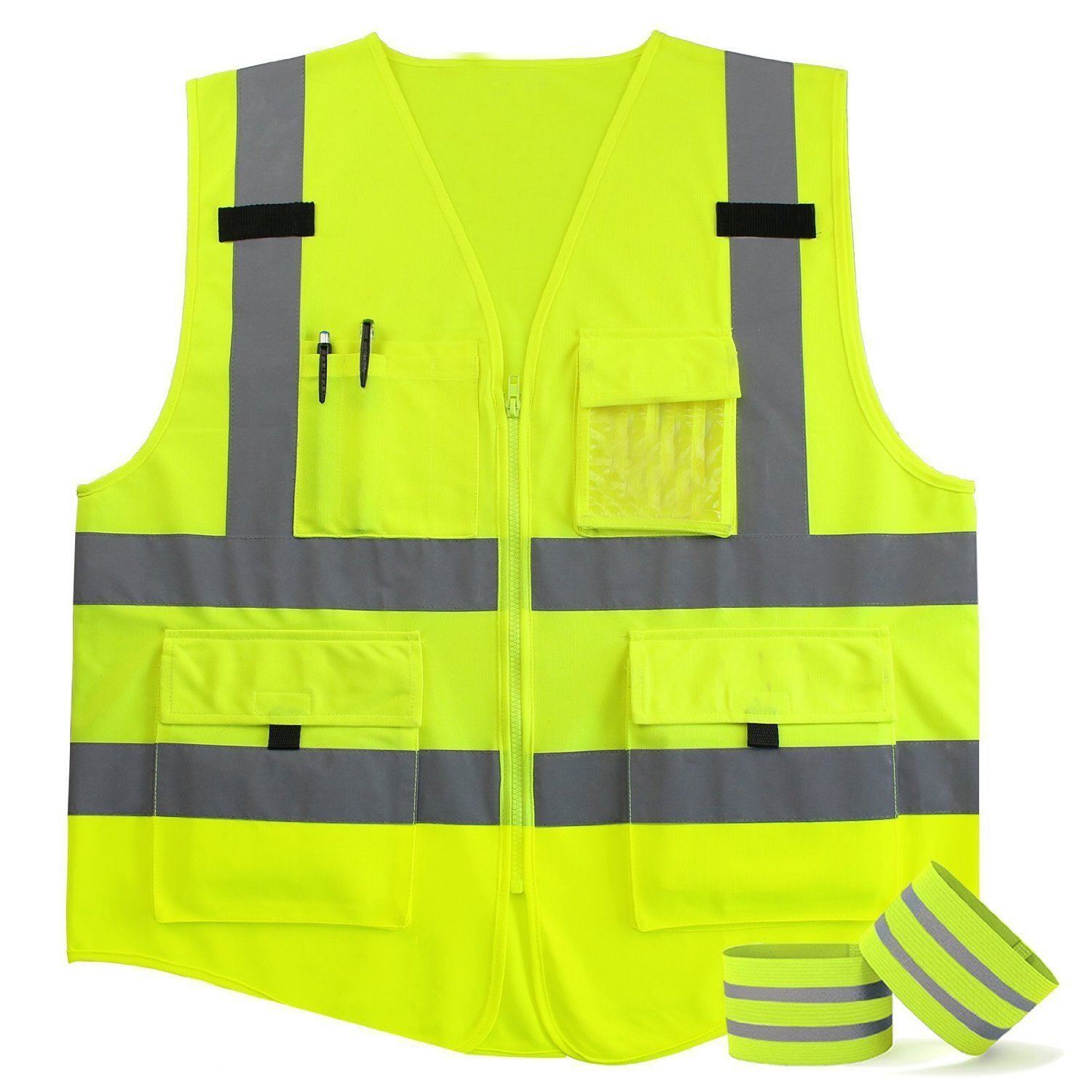 Queenbuygo High Visibility Safety Fluorescent Yellow Nylon Vest with 4 Pockets and Grade-2 Visibility Front Zipper and Reflective Strips on the back, 2 Bonus Reflective Bands Included (M)