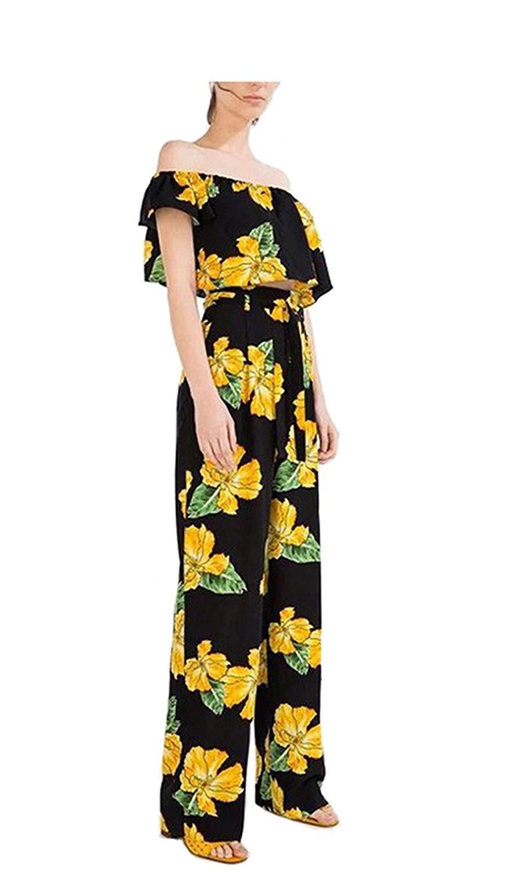cc640e522ac2 Get Quotations · Women Floral High Waist Pants Wide Legs Pants Long Casual  Flares Pants Fashion Trousers Black