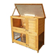 Small Wooden Pet Animal House 2-Story Poultry Cage Rabbit Hutch
