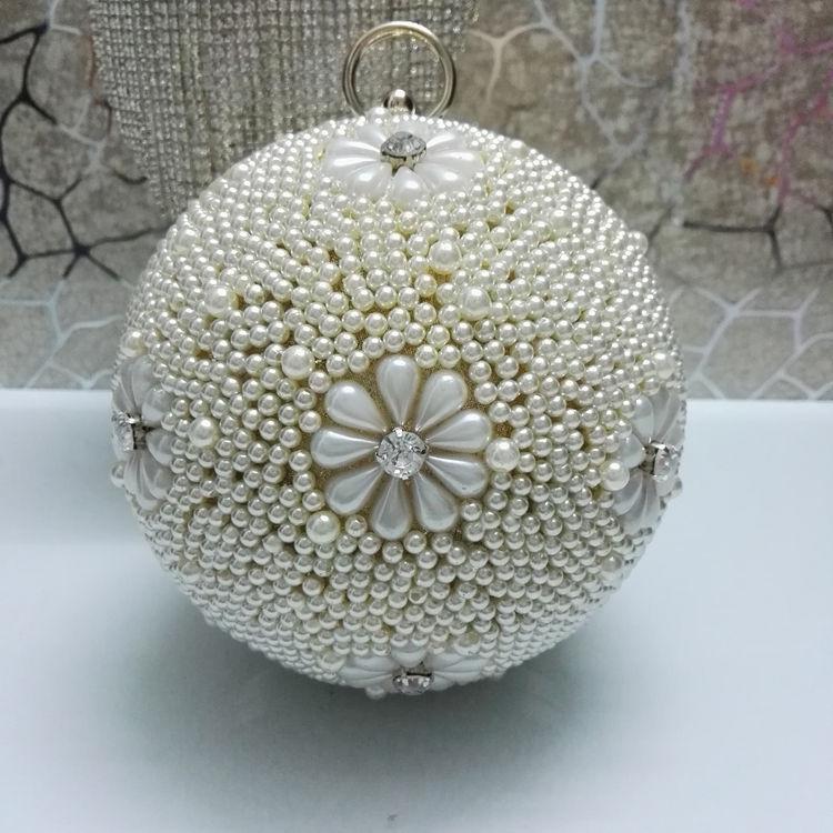 Bw21 Women s Pearl Bag Pearl Beaded Diamond Tellurion Evening Bag Bridal  Wedding Round Ball Wrist Bag Clutch Purse Handbag - Buy Evening Bag 92c50d589d35