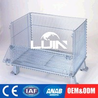 Customized OEM Fold Lockable Metal Warehouse Storage Steel Cage Wire Basket