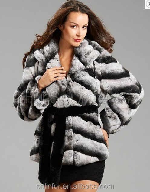 Fashion Winter Women Featured Natural Real Chinchilla Rabbit Fur coat