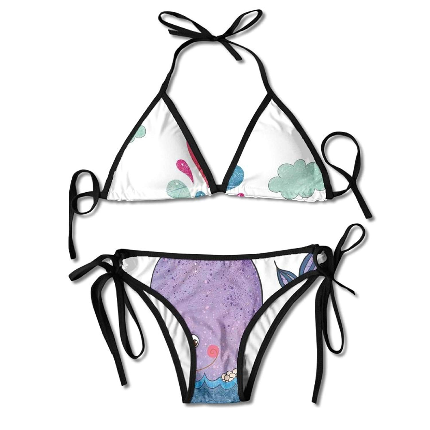Woman Cute Smiley Whale with Lovely Hearts and Clouds On Sea Great for Kids Swimming Bikini