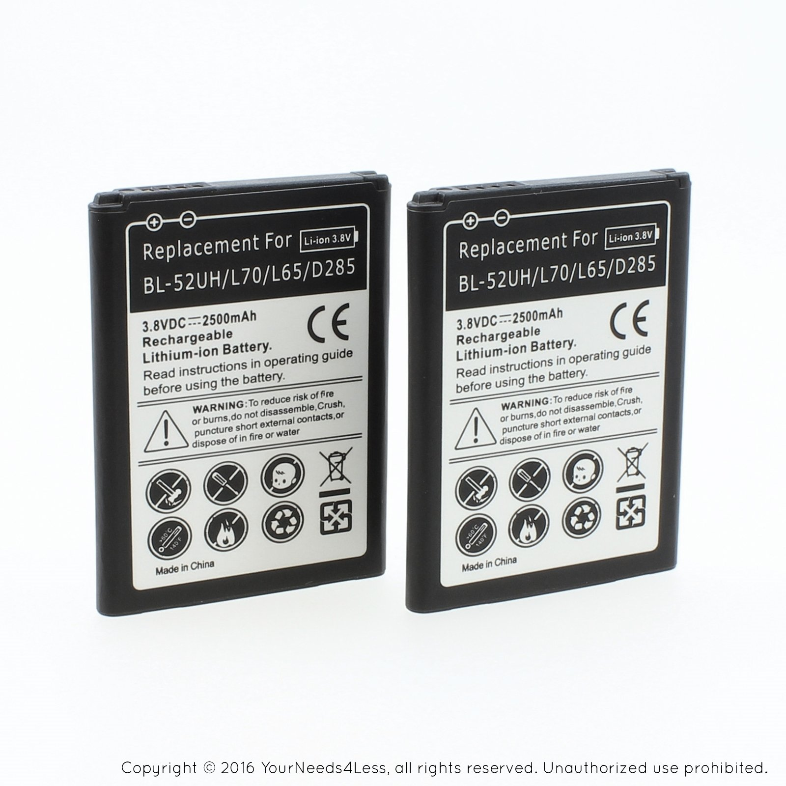 YN4L 2 X 2500mAh Replacement Batteries for LG Optimus L70 ; D320 ; MS323 ; L65 ; D285 ; LS620 ; BL-52UH