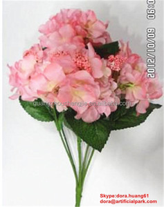 6 heads artificial hydrangea cloth/fabric flowers for wedding dresses