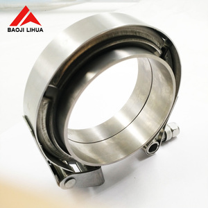 "Gr2 2.5"" Titanium V-Band Clamp and Flange for exhaust"