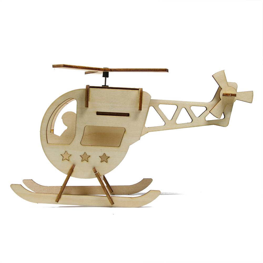 Helicopter 3D Wood Puzzle Solar Power Helicopters DIY Assembly Education Toys For Kids Table Decoration