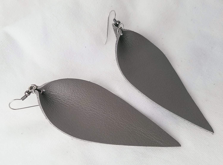 Granite/Leather Statement Earrings - Large/Joanna Gaines Earrings/Leaf