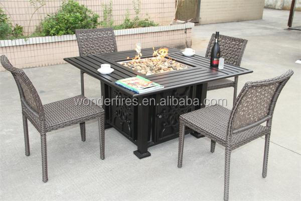 "Gas Patio Table 48"" x 48"" square chat fire pit table - outdoor fireplace fire pit"