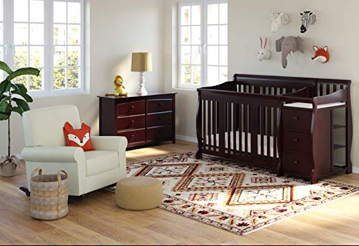 4-in-1 Fixed Side Convertible Crib, Espresso baby crib nursery bedding set