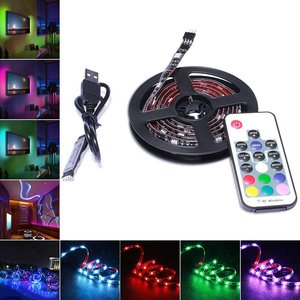 DC 5V USB 30 LED/m 5050 RGB Waterproof Flexible LED Strip Light TV Background Lighting+RF 17 Key Remote 1m