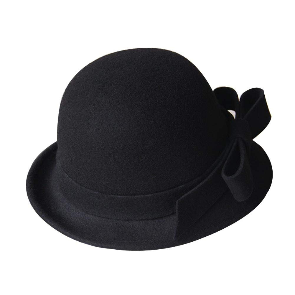 b8bc46cb34a Get Quotations · PANDA SUPERSTORE Solid Color Simple Vintage Wool Billycock  Bowler Hat Bowknot